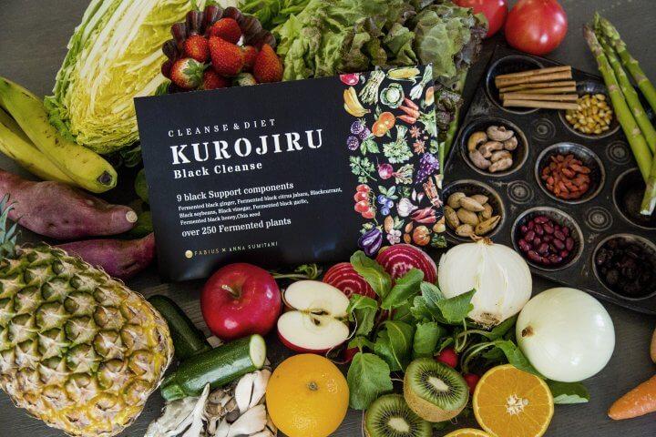 黒汁ブラッククレンズと野菜果実の写真